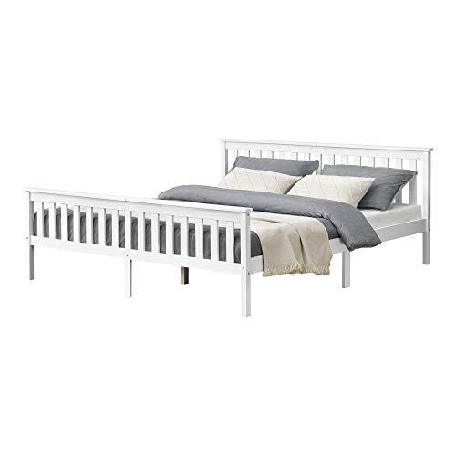 [en.casa] Holzbett mit hohem Kopfteil und Lattenrost 180x200 cm Doppelbett Ehebett Bettgestell Kiefernholz Weiß