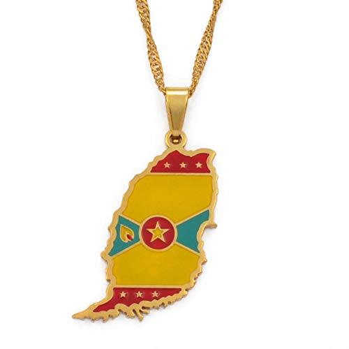 nice cheng Colgante de Bandera de Mapa de la Isla de Granada de Color Dorado y Collares de Ondas de Agua Regalos de joyería # 098821