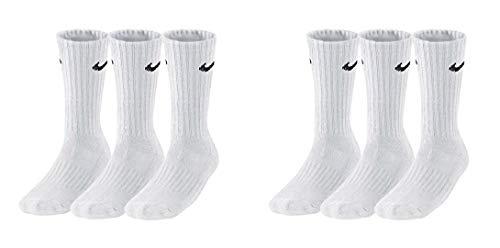 Nike 6 Paar Herren Damen Socken SX4508 weiß oder schwarz oder weiß grau schwarz, Farbe:weiß, Sockengröße:42-46