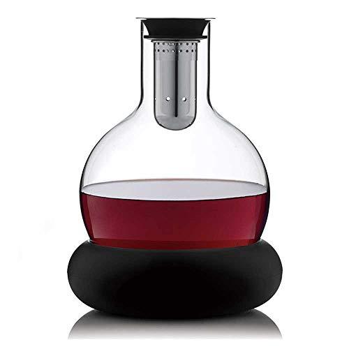 Decantador de Vino 1.5L Rojo Vino De La Jarra - Mejora El Sabor Del Vino Por El Reblandecimiento Taninos - Gran Centro De Mesa - Elegante Y Eficaz - 100% Libre De Plomo Cristal