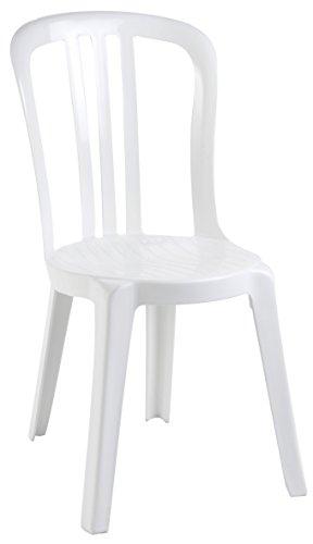Ondis24 Gartenstuhl Stapelstuhl Miami Bistrot, 44 x 54 x 88 (H) cm, pflegeleicht, UV- und witterungsbeständig (Weiß)