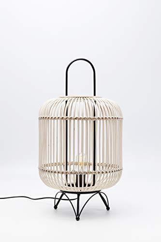 Kare Design Tischleuchte Bamboo 62cm, Tischlampe in Bambus Optik, Natur Farbene Lampe mit schwarzem Gestell, (H/B/T) 62x34x34cm