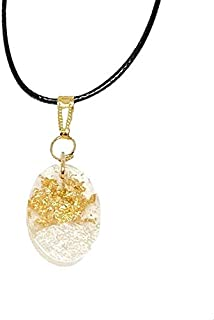 AGA Oval Shaped Resin Pendant Necklace - Off White and Gold