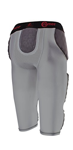 Cramer Thunder 7 Pad Football Girdle With Integrated Hip, Thigh and Tailbone Pads, Designed for Protection from High Impacts, High Hip Pad Coverage, Extra Thigh Protection Padding, Gray, Medium
