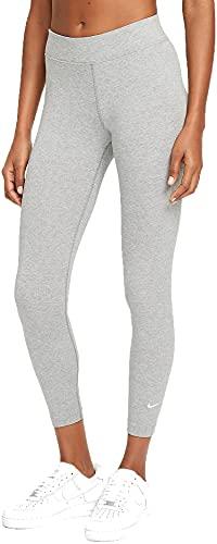 Nike Damen Sportswear Essential Trainingshose, Dk Grey Heather/Weiß, Small