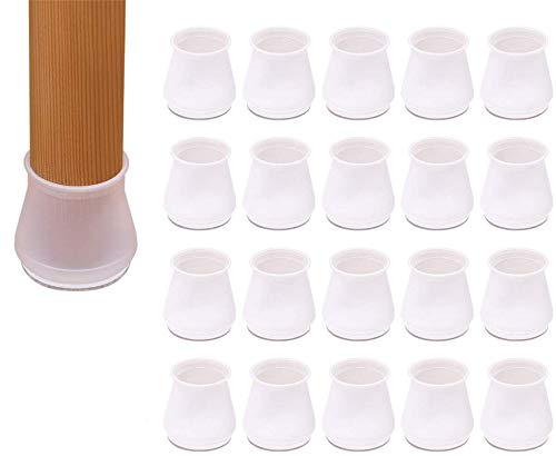 transparent Clear Silicone Table Furniture Leg Covers caps,Chair Leg Covers to Stop Scratching,Chair Leg caps 30mm Round,Chair Leg Floor Protectors Square,Chair Leg caps Non Slip,20pcs (l Round)