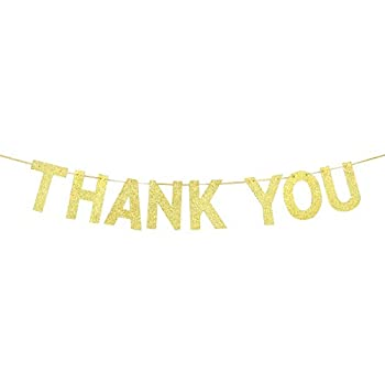 INNORU Gold Glitter Thank You Banner - Wedding Bunting Photo Booth Props Anniversary Bridal Party Decoration Supplies