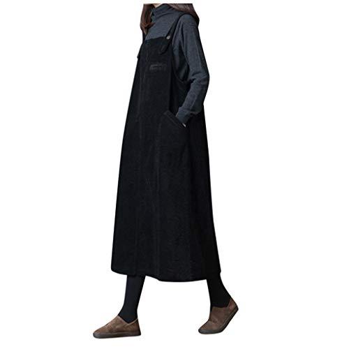 ღLILICATღ Mujer de Pana Vestido Vintage Bolsillo Correa Casual otoño Invierno Flojo Chaleco Vestido General Negro/café