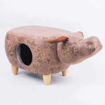LHY HOME Taburete Infantil Hipopótamo Dinosaurios Animal Otomana con Patas De Madera Caja De Arena para Gatos Taburete Reposapiés para Jardín De Infantes, Dormitorio Infantil,Buffalo,S