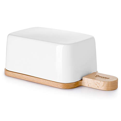 Sweese 323.101 Butter Dish with Lid and Handle, Porcelain Butter Keeper and Extended Wooden Lid, White