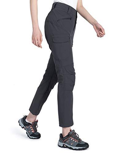 Wespornow Damen-Wanderhose-Schnelltrocknend-Trekkinghose, Lang-Outdoor-Hose-Atmungsaktiv Leicht Outdoorhose Verschleißfester Sommer Funktionshose mit Reißverschluss Taschen (Grau, M)