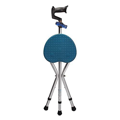 Taburete plegable con asiento tipo palo, para personas mayores discapacitadas, taburete portátil de aleación de aluminio, bastón para caminar, silla con muleta para ancianos, taburete con linterna,