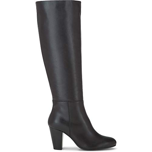 Belmondo Damen Klassik-Stiefel, Langschaft-Stiefel mit innerseitigem Reißverschluss, trichterförmigem Block-Absatz aus Glatt-Leder in Schwarz Schwarz Glattleder 40