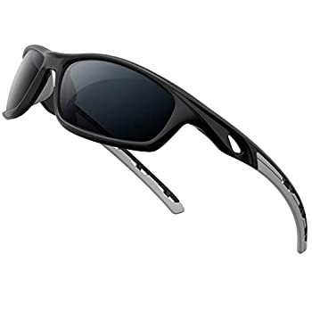 RIVBOS Sunglasses for Men Women Polarized UV Protection Sports Fishing Driving Shades Cycling RB833-black& grey