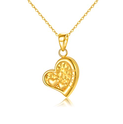 18K Solid Gold Heart Necklace Jewelry for Women, 'I Love You Forever' Real Gold Love Heart Pendant Anniversary Jewelry Gifts for Mom, Wife, Girls, 16'+2'