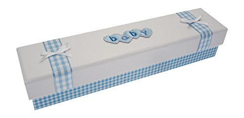 Blanc Coton Cartes d'acte de naissance (Cœur Bleu lettres)