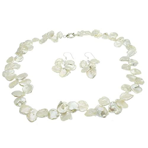 Keshi - Juego de joyas de perlas (plata de ley, con caja de regalo)