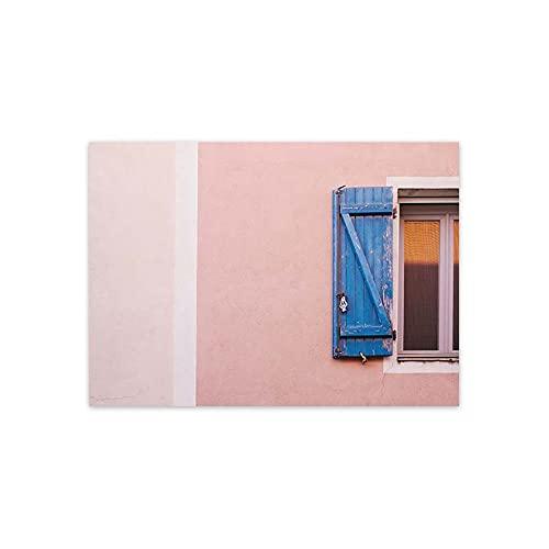 Cartel nórdico del paisaje de la casa rosada Puerta vieja Ventana Plantas Arte de la pared Pintura en lienzo Estilo escandinavo Sala de estar Decoración para el hogar A310 50 × 70CM Sin marco