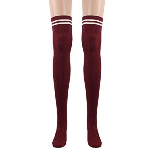 """BOLAWOO-77 Männer Dchen College Wind Oberschenkel Hohe Socken Damen Strümpfe Das Knie Baumwollsocken Schwarz 60Cm 23 63 (Color : Khaki, Size : 60cm/23.63\"""")"""