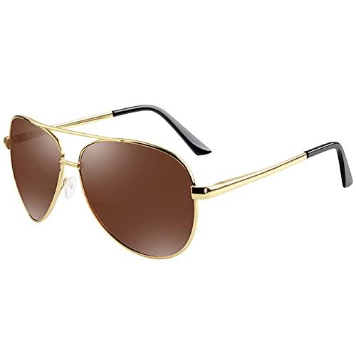 BEIAKE Gafas De Sol para Adultos Luz Polarizada Visión Nocturna Gafas Gafas De Sol Piloto Adecuado para Ciclismo, Correr, Viajar, Playa, Drive Goggles,Marrón
