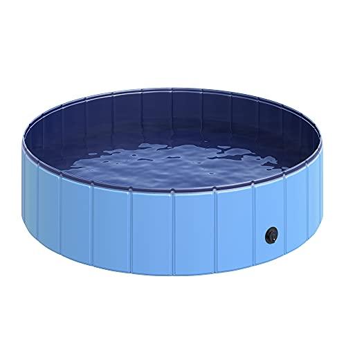 Pawhut Piscina in Plastica Bordo Stabile per Cani Animali Domestici, Blu, 120x30cm