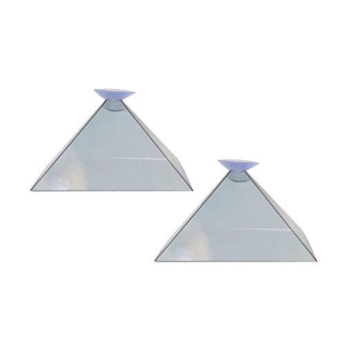 Ztoma Pantalla Proyector, Pirámide Pantalla Proyector, 3D Holograma Pirámide Pantalla Proyector, Vídeo Soporte Portátil para Smart Teléfono Móvil - 2 Piezas