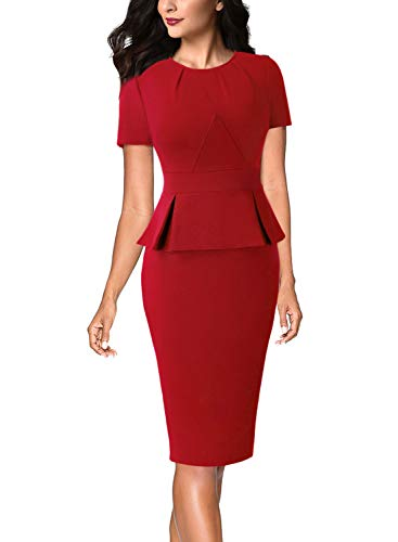 VFSHOW Womens Pleated Crew Neck Peplum Wear to Work Office Bodycon Pencil Sheath Dress 532 New RED S
