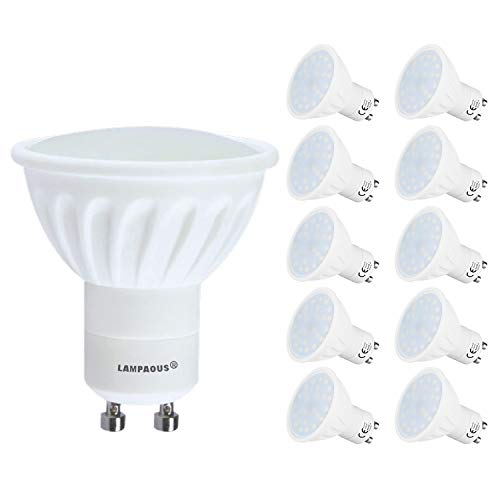 Lampaous 10er Pack Led GU10 5 Watt Dimmbar Led Leuchtmittel Reflektorlampe gu10 450lm superhell Ersatz für 35 bis 40 Watt Halogen Lampe warmweiss mit Milchglas Abedeckung