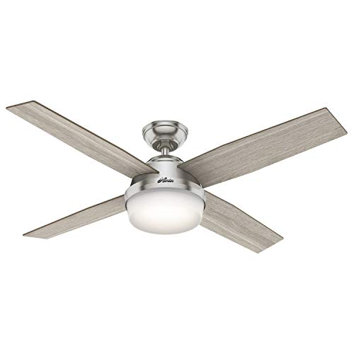 """Hunter Fan Company 50284 Dempsey Indoor Ceiling Fan with LED Light and Remote Control, 52"""", Brushed Nickel"""