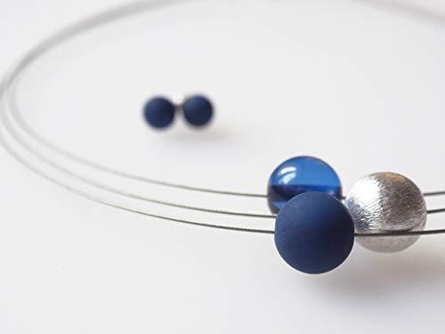 Schmuckset Polariskette blau silber Kette dunkelblau
