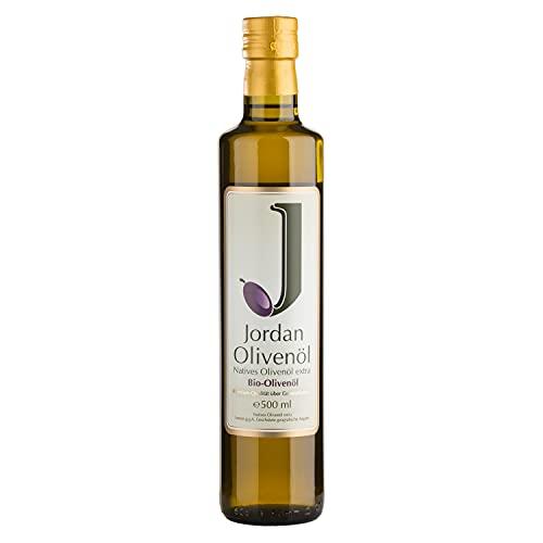 Jordan BIO-Olivenöl - Natives Olivenöl Extra von der griechischen Insel Lesbos - traditionelle Handernte - Kaltextraktion am Tag der Ernte - Elegante schmale Flasche aus Glas mit Ausgießer - 0,5 Liter / DE-ÖKO-037
