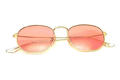 CZ - Gafas de sol para hombre y mujer octogonal ovaladas con cristales planos rosa neón claro dorado