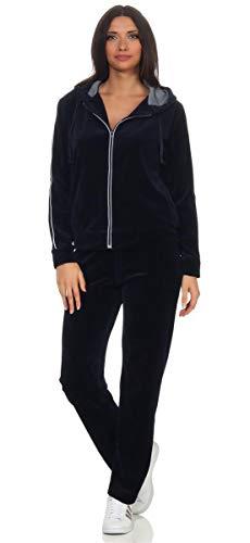 eloModa Damen Nicki Freizeitanzug Hausanzug Jogginganzug Nicki-Anzug mit Reißverschluss Gr. S - XXL Dunkelblau L