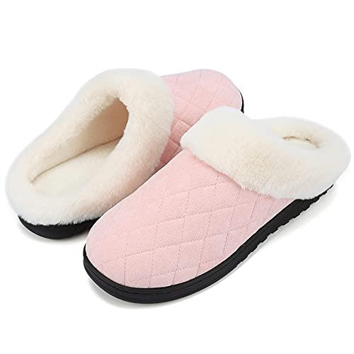VTASQ Zapatillas de Estar Mujer Invierno Zapatillas Casa de Espuma Viscoelástica CáLido Antideslizantes Pantuflas de Interior y Exterior Rosado 38/39