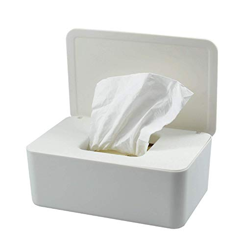 Feuchttücher-Box,Toilettenpapier Box,Kunststoff Feuchttücher Spender,Baby Feuchttücherbox,Baby Tücher Fall,Tissue Aufbewahrungskoffer,Taschentuchhalter,Tücherbox,Serviettenbox (Weiß)