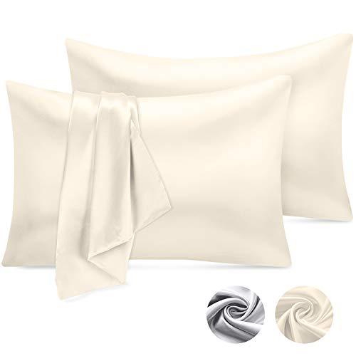 Emooqi Kissenbezug 40 x 80 cm Satin Kissenbezug, Satin Kopfkissenbezug Seidig Kissenhülle für Haar- und Hautpflege, Kissenbezüge in 2er Set -Milchig Weiß