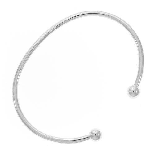 Silver Tone Bangle Cuff Bracelet For European or Biagi Beads Screw End Small