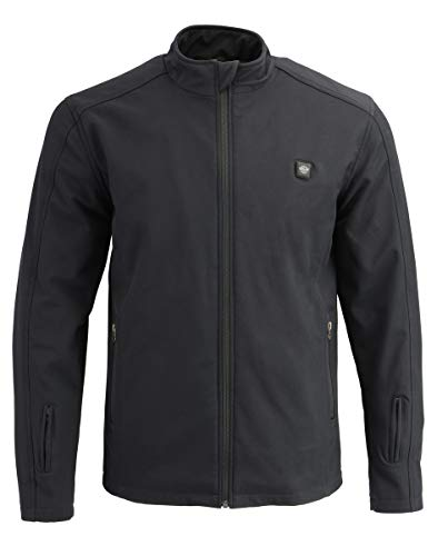 Milwaukee Leather MPM1762SET Men's Black 'Heated' Collarless Soft Shell Jacket (Battery Pack Included) - X-Large