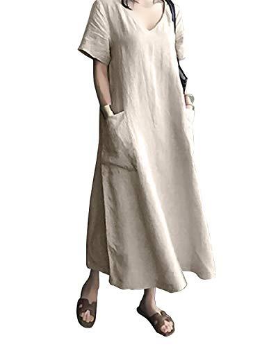 AUDATE Damen Leinen Sommer V-Ausschnitt Großes Lang Kleid Plus Size Baumwolle Maxikleid Khaki L