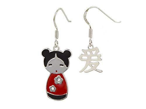 AKA Joyas - Pendientes Mujer Muñeca Japonesa en Plata de Ley 925 Esmalte y Cristales Swarovski, con la palabra Amor escrita