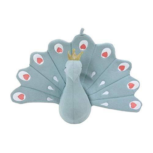 NUOBESTY Peluche de Pavo Real Lindo Animal Throw Almohada de Relleno Suave cojín Decorativo para sofá, Cama, Coche, Oficina, decoración del hogar (Azul)