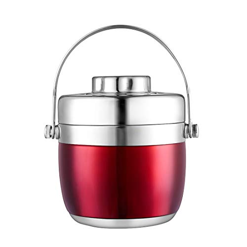 BEYONDA Food Flask-Stainless Steel- Bento Lunch Box with Handle- Great For All Sorts Of Outside Activities 40 oz (1200ML)-(Rose red)