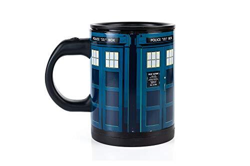 Doctor Who Tardis Selbstrührender Reise-Kaffeebecher – automatischer selbstmischender und drehender Becher, 340 ml