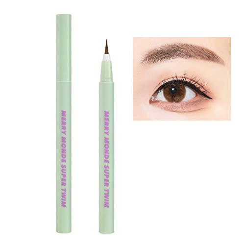 Merry Monde Multicolor Super Slim Long Lasting Eyeliner Vegan Easy Ultra-Fine Felt Tip Pen Liquid Korean K Beauty Waterproof Mechanical Eye Liner Makeup (Light Brown)