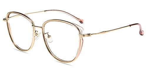 Firmoo Gafas para Ordenador Anti luz Azul,Evita la Fatiga Ojos, Gafas PC UV Luz Filtro Protección Azul Mujer Hombre para Antifatiga, S11155 Dorado Rosa
