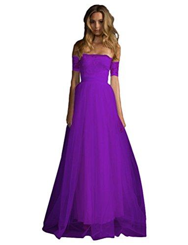 Baymate Damen Schulterfrei Abendkleider Spitzenkleid Elegant Partykleid Hochzeit Brautjungfer Cocktailkleid Lange Kleider Maxikleid (Lila, Asia S)