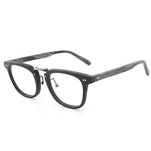 Yeeseu Gafas de sol del marco de madera del grano corto de vista clásico del marco de los vidrios gafas de moda retro vidrios llanos gafas de moda (Color: 03Brown, Tamaño: Libre) Ciclismo, Correr, Pes