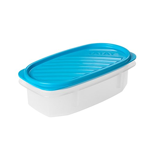 TATAY 1163000 - Contenedor De Alimentos hermético Ovalado Con Tapa Flexible a presión azul, 0,5 litros de capacidad, 18,4 x 9,7 x 6,1