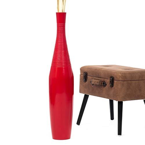 Leewadee Große Bodenvase für Dekozweige hohe Standvase Design Holzvase 90 cm, Mangoholz, rot