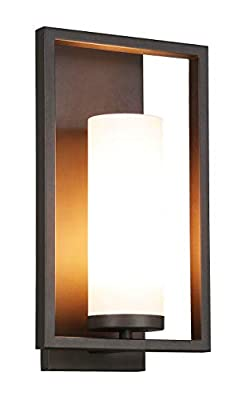 XiNBEi Lighting Wall Sconce 1 Light Bathroom Vanity Light with Acrylic Shade, Modern Sconces Wall Lighting in Dark Bronze with Gu24 Bulb for Kitchen & Corridor XB-W1143-DB